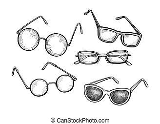 tinta, eyeglasses., állhatatos, skicc