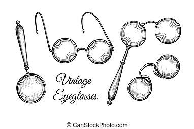 tinta, spectacles., skicc, szüret