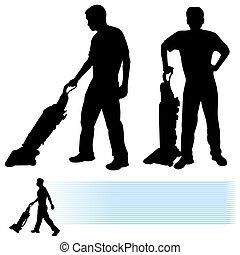 tisztító, űr, ember, használ
