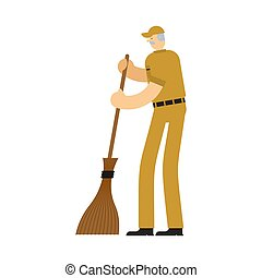 tisztító, broom., szolgáltatás, munkás, swabber, gondnok, man.