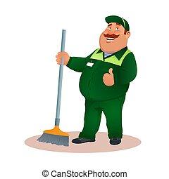 tisztító, hivatal, gesture., mosolygós, janitorial, furcsa, szolgáltatás, betű, egyenruha, illeszt, boldog, lakás, színes, súrol, kövér, karikatúra, broom., jóváhagy, illustration., cleaning., vektor, zöld, gondnok, vagy
