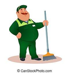 tisztító, hivatal, mosolygós, janitorial, eye., furcsa, szolgáltatás, betű, egyenruha, illeszt, boldog, lakás, pislogás, színes, súrol, kövér, karikatúra, illustration., winks., cleaning., vektor, zöld, gondnok, vagy