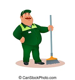 tisztító, hivatal, mosolygós, janitorial, furcsa, szolgáltatás, betű, egyenruha, illeszt, boldog, lakás, színes, kövér, karikatúra, broom., illustration., cleaning., mop., vektor, zöld, gondnok, vagy