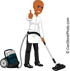tisztító, hotel, munkás, szolgáltatás, űr