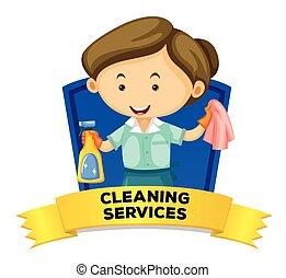 tisztító, wordcard, foglalkozás