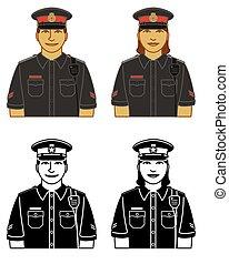 tiszt, ikonok, fehér, elszigetelt, hím, egyenruha, rendőrség, vektor, női, állhatatos, háttér