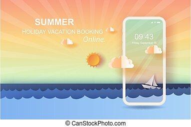 tiszta égbolt, úszó, vector., háttér., online, gyönyörű, vitorlázás, summertime idő, művészet, kilátás, dolgozat, beír, csónakázik, holiday fűszerezés, kilátás a tengerre, surface., 3, napnyugta, mozgatható, tenger, táj, lenget