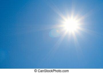 tiszta égbolt, nap, fényes