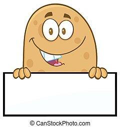 tiszta, felett, aláír, mosolygós, krumpli
