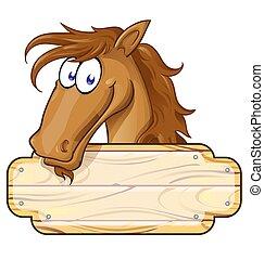 tiszta, karikatúra, aláír, ló, kabala, boldog