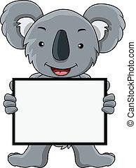 tiszta, koala, karikatúra, aláír