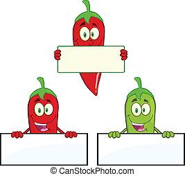tiszta, peppers, aláír, felett, csilipaprika