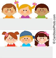 tiszta, vektor, csoport, ábra, placards., birtok, különböző, gyerekek