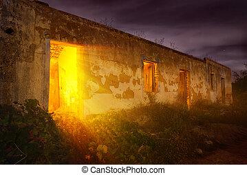 titokzatos, fény, elhagyatott, épület