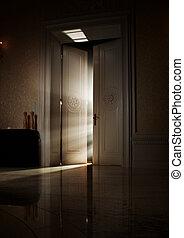 titokzatos, fény, mögött, küllők, ajtó