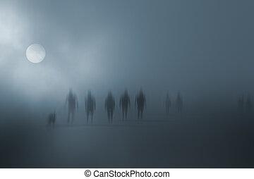 titokzatos, gyalogló, életlen, emberek