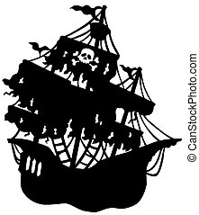titokzatos, hajó, árnykép, kalóz