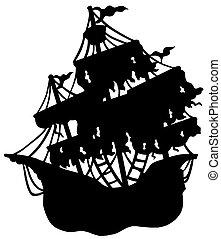 titokzatos, hajó, árnykép