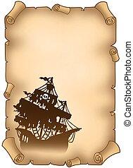 titokzatos, hajó, öreg, kalóz, felcsavar
