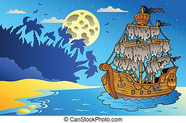 titokzatos, kilátás a tengerre, hajó, éjszaka