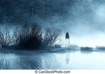 titokzatos, nő, köd