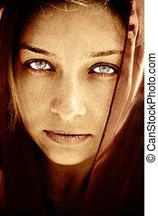 titokzatos, nyomasztó, nő, szemek