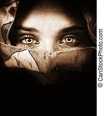 titokzatos, szemek, nő, érzéki