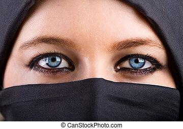 titokzatos, szemek, nő