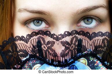 titokzatos, szemek, nő, zöld, erős