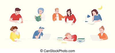 tizenéves, állhatatos, gyermekek lány, felolvasás, lakás, ülés, diákok, gyűjtés, asztal, fiú, előkészítő, írás, karikatúra, laptops, izbogis, illustration., előjegyez, sleeping., vektor, exams., vagy
