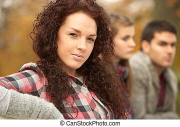 tizenéves, csoport, liget, feláll, ősz, közeli barátok