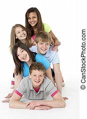 tizenéves, csoport, műterem, barátok