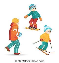 tizenéves fiú, hógolyó, síelés, játék, snowboarding