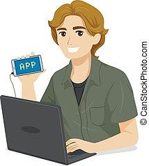 tizenéves fiú, mozgatható, app, programozás, ábra