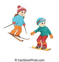 tizenéves fiú, síelés, snowboarding, leány, boldog