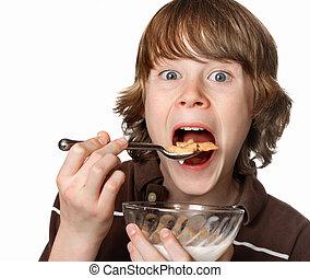 tizenéves fiú, tál, étkezési, gabonanemű