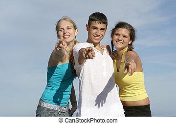 tizenéves kor, csoport, boldog