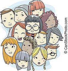 tizenéves kor, faj, különböző, arc