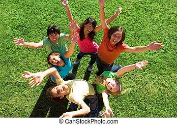 tizenéves kor, különböző, csoport, boldog