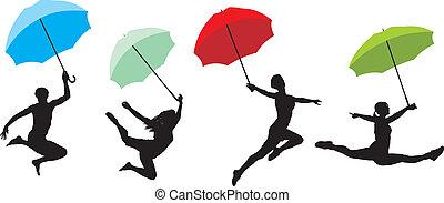 tizenéves kor, ugrás, esernyő