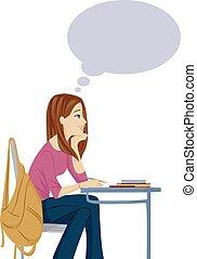 tizenéves lány, ábrándozás, osztály, nap
