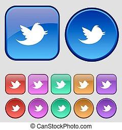 tizenkettő, állhatatos, retweet, szüret, cégtábla., üzenet, média, -e, gombok, vektor, társadalmi, ikon, csicsergés, design.