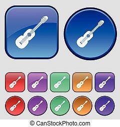 tizenkettő, állhatatos, szüret, cégtábla., gitár, gombok, vektor, akusztikai, ikon, -e, design.