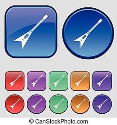 tizenkettő, állhatatos, szüret, cégtábla., gitár, gombok, vektor, ikon, -e, design.