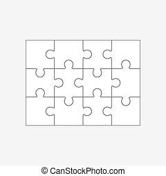 tizenkettő, rejtvény, jigsaw munkadarab, 4x3, sablon, tiszta