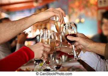 toast., szemüveg, hatalom kezezés, gyártás, pezsgő, celebration., bor