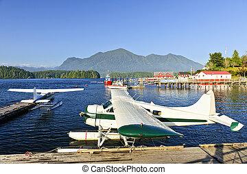 tofino, kanada, sziget, dokk, vancouver, tenger, gyalul