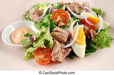 tojás, tuna saláta