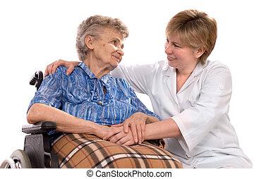 tolószék, nő, öregedő