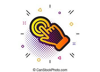 tol, action., gesztus, vektor, cégtábla., touchscreen, kéz, icon., csattant